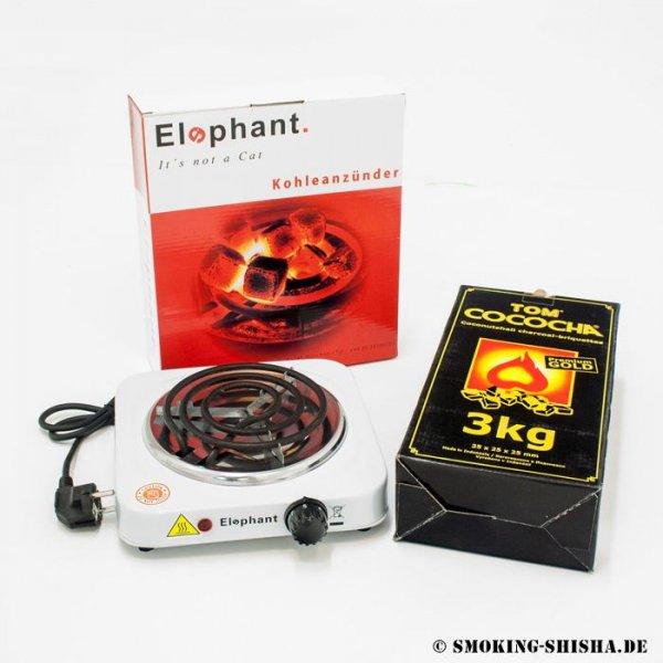 [Smoking-Shisha.de] Elephant Kohleanzünder inkl. 3kg Cococha Gold