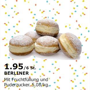 IKEA Offline  6 Stk. Berliner / Krapfen / Pfannkuchen / KREPPEL :-p  mit Fruchtfüllung / Puderzucker 1,95 €