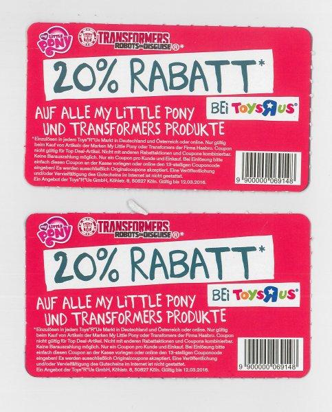 20% auf My Little Pony und Tranformers Produkte bei Toys-R-US