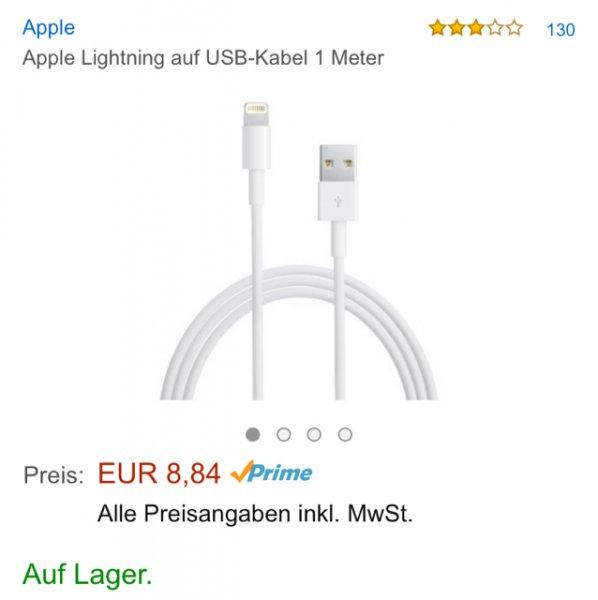 [Amazon.de Prime] Original 1m Lightning Kabel für 8,84€