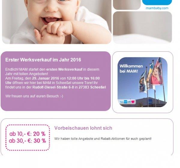 MAM Werksverkauf für Babyartikel in Scheeßel am 29.01.2016