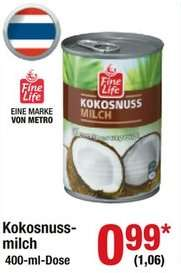 [Metro] 400 ml Kokosmilch Hausmarke *ohne Zusätze* [D, vermutlich bundesweit]