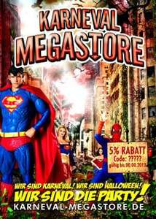 Karneval Megastore sponsort eure Party (Gratisflyer mit Werbedruck)