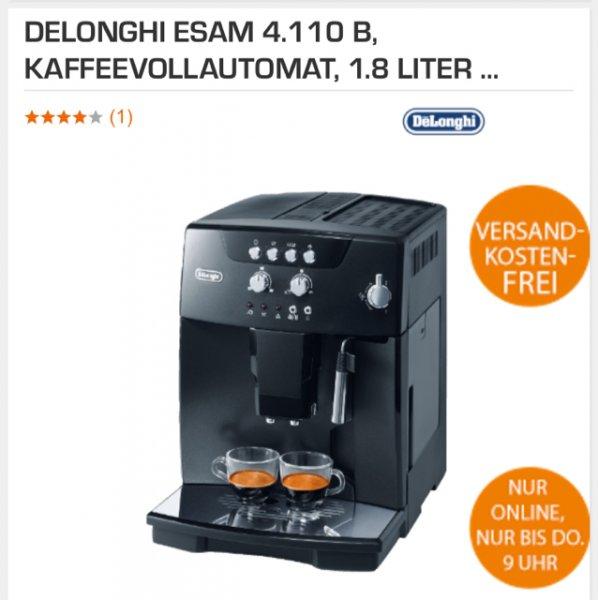 [saturn] DELONGHI ESAM 4.110 B, Kaffeevollautomat, 1.8 Liter Wassertank, 15 bar, Silence-Kegelmahlwerk, Schwarz  für 299€ (Vergleichspreis idealo: 379€) Ersparnis ~70€