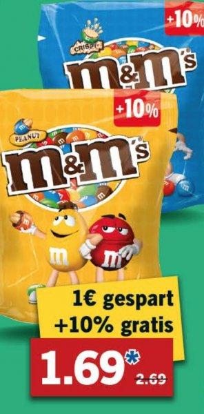 [Lidl/Bundesweit] m&m's + 10% 275g/235g verschiedene Sorten für 1,69€ ab Donnerstag 04.02.2016