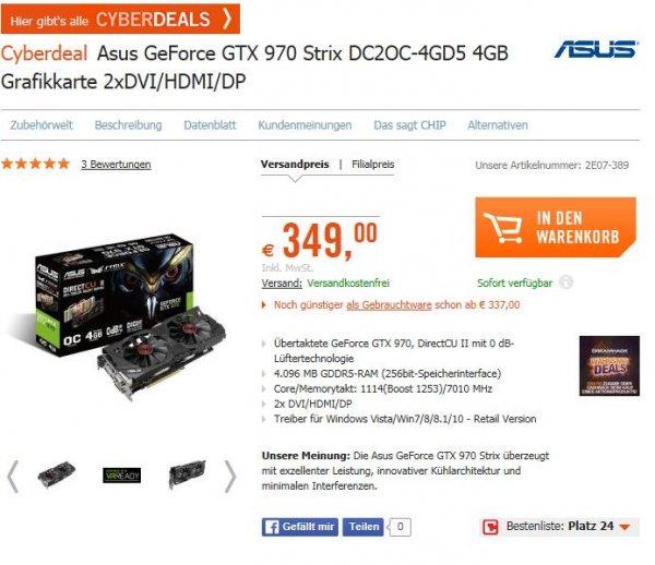 Cyberdeal bei Cyberport: Asus GTX 970 Strix zum Hot Deal Preis
