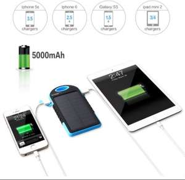 [Amazon] InnooTech Solar Ladegerät 5000mAh Externe Akku Power Bank Dual USB Ports - 50% Rabatt