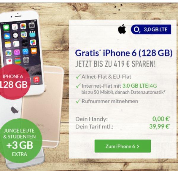 Gratis iPhone 6 128 GB zum O2 Blue All in L Tarif