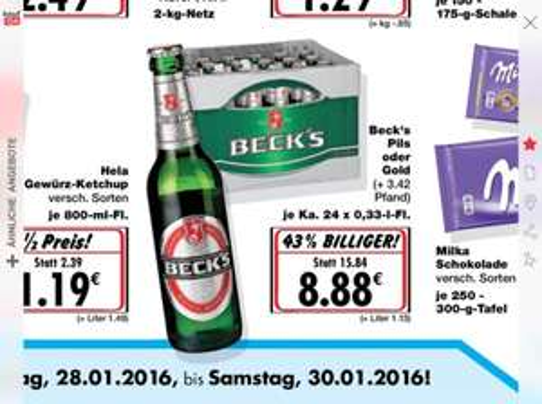 Becks 24 * 0,33 für 8,88€ Kaufland Henstedt-Ulzburg (Lokal?)