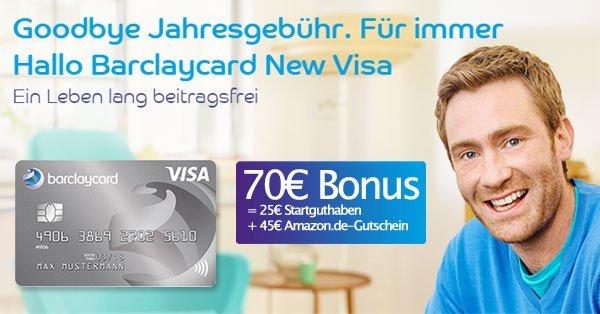 [Sparblog.com] Barclaycard New Visa mit 45 Amazon Gutschein + 25€ Startguthaben