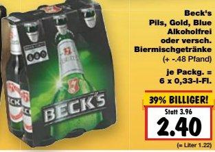 [KAUFLAND] KW05: Beck's 6x0,33l (alle Sorten) für 2,40€ (München) bzw. 2,70€ (Berlin)