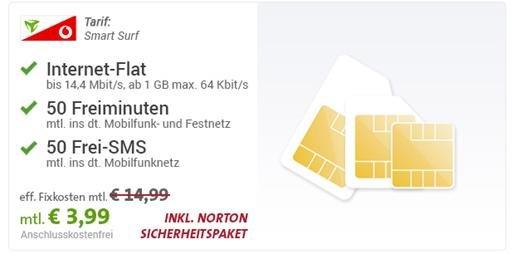 Vodafone MD Smart Surf (1GB Datenflat + 50 Freiminuten + 50 Frei SMS) für 3,99€/Monat