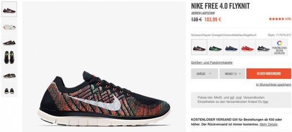 Nike Free 4.0 Flyknit - 5 verschiedene Farben - 83,19€ (Quipu möglich)