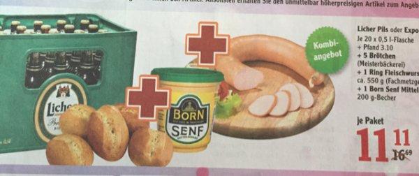 [Globus Hattersheim] Licher Pils/Export + 5 Brötchen 1 Ring Fleischwurst & Born Senf Mittelscharf