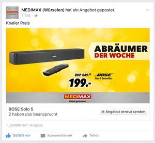 Bose Solo 5 bei Facebook Medimax Würselen