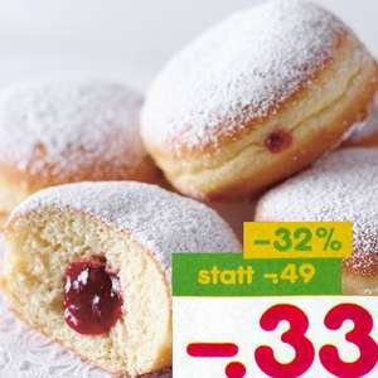 Berliner (Krapfen / Kräppel) mit viel Frucht für 33 Cent [Netto MD]