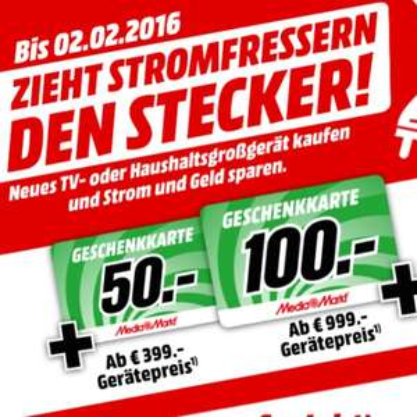 50€ bzw. 100€ Geschenkkarte bei Mediamarkt für den Kauf von 399 bzw 999€ Großgerät