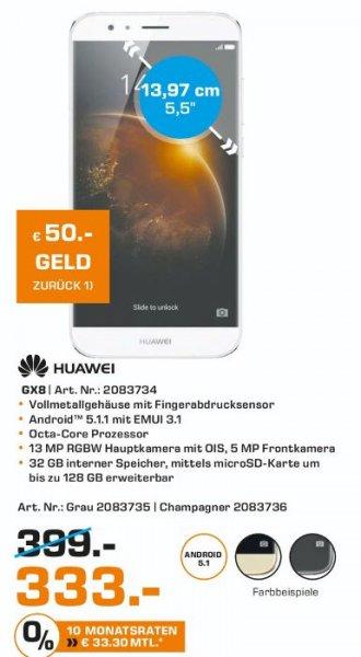 [Lokal Saturn Herford] Huawei GX8- LTE-32 GB-FHD  TFT- 13 MP Kamera (5 MP Frontkamera) in Grau oder Champagner für je 333,-€ Minus 50,-€ Cashback