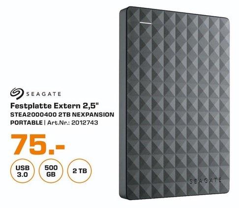 """(Lokal) Seagate Expansion Portable 2TB 2,5"""" für 75€ (Ausbaubar für die PS4) @ Saturn Aachen"""