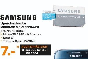[Lokal Saturn Moers] Samsung MemoryStandard MicroSDHC Class 6 Speicherkarte (bis zu 24MB/s Transfergeschwindigkeit) mit SD Adapter. 32GB für 7,-€ und 8GB für 3,-€