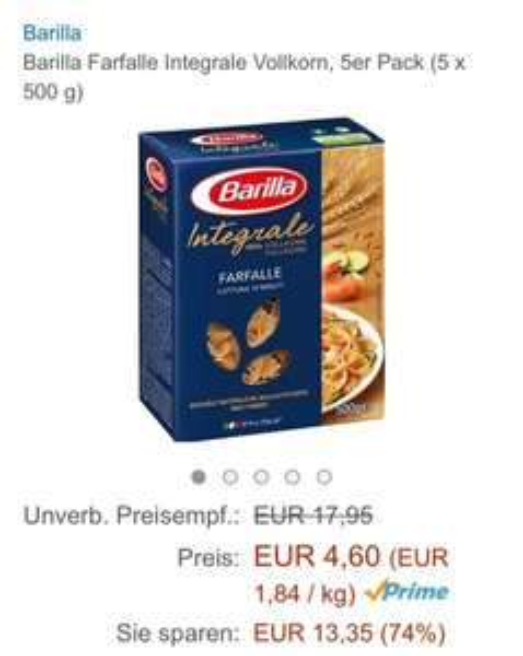 Amazon Barilla Farfalle Integrale Vollkorn, 5er Pack (5 x 500 g) bzw 6er pack 5,23€