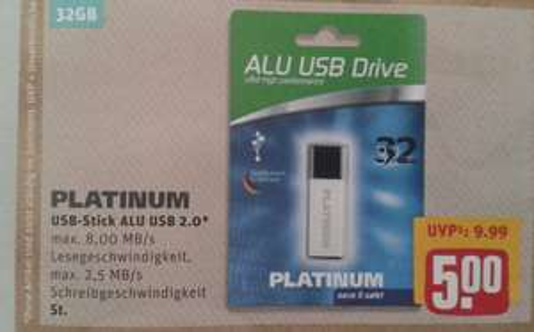 Lokal: Platinium Alu USB-Stick 32GB  2.0
