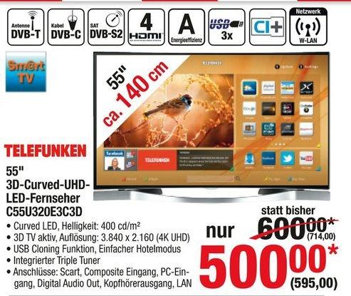 [Metro] Die MM Alternative für Metrokarteninhaber-Telefunken C55U320E3C3D-5(bzw. Finlux 55UX3EC320S-T ) Zoll Curved UHD Fernseher mit Aktiv 3D, USB Cloning Funktion und 4xHDMI ab 535,50€