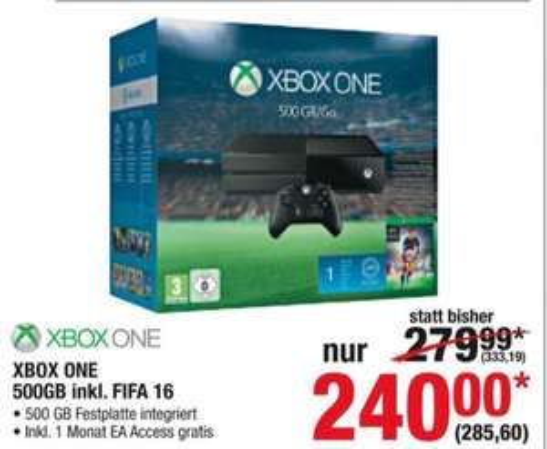 Xbox One 500 GB mit FIFA 16 + 1 Monat EA Access für 285,60€ dank Coupon   Metro