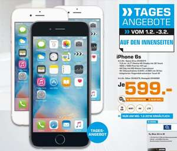 (Lokal) Apple iPhone 6S für 599€ @ Saturn Karlsruhe (Tagesangebot 1.Feb)