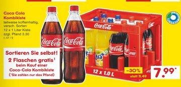 [Netto MD bundesweit] 1 Kasten Coca Cola in praktischen 1 Liter Mehrwegflaschen 12x1L + 2L gratis für 7,99€ (0,57€/L)