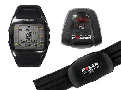Polar FT60G1 (FT60MG1) GPS Pulsuhr im Set mit Polar Wearlink Stoffbrustgurt, Polar G1 GPS-Sensor