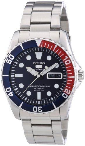 """[citywatches.co.uk] Seiko SNZF15K1 Automatik, 23 Jewels, 100m  wasserdicht, Glasboden, Datum & Wochentag, """"Pepsi Design"""" Uhr"""
