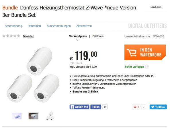 3er Set Danfoss LC-13 (Z-Wave) Heizungsthermostat 119,- Eur @Cyberport (= 40 Eur / Stck VGP => 53,-)