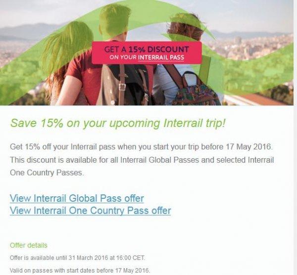 15 % Interrail Frühlingsrabatt auf den Global Pass und auf die meisten One Country Pass