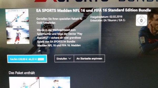 (Xbox One Store) Bundle Fifa 16 + Madden NFL 16 für 46,20 NFL Super  Bowl Edition 23,10