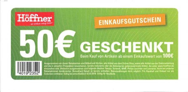 [Lokal Höffner im Laden] 100€ einkaufen und 50€ bezahlen (nur bis 02.02.16) - Bundesweit??