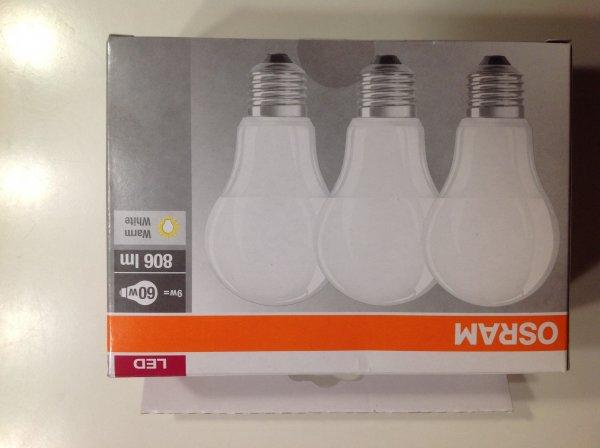 3 Stück LED Osram Classic E27 9 Watt 9,99 Euro Versandkostenfrei BAUHAUS