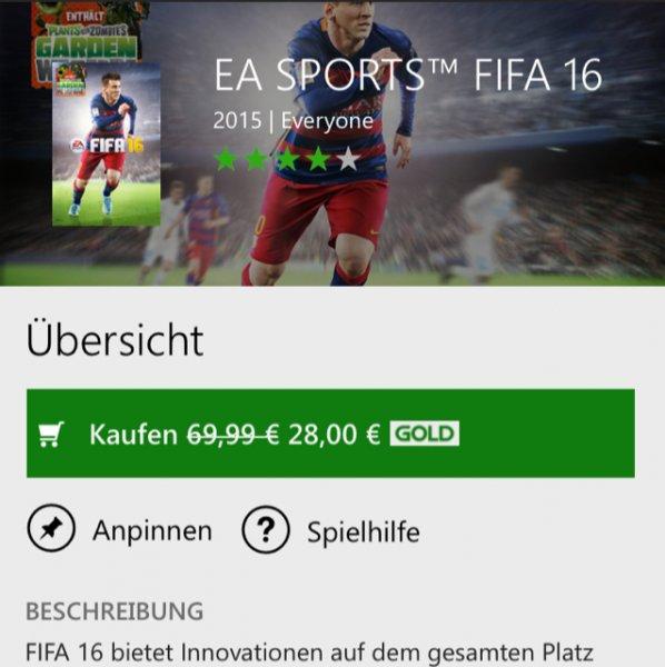 Xbox one store FIFA 16 + Zombies vs. Plants