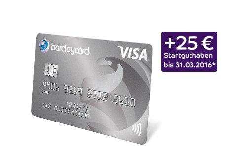 Barclaycard New Visa (Gebührenfrei) + 25€ Startguthaben