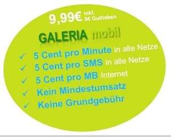 GALERIAmobil - Prepaid - 5 cent je min. / SMS / MB