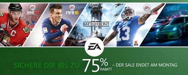 Xbox Live EA Sale (interessant vor allem mit Xbox Live Gold) mit FIFA 16 ab 28€, Star Wars Battlefront ab 35€ uvm.