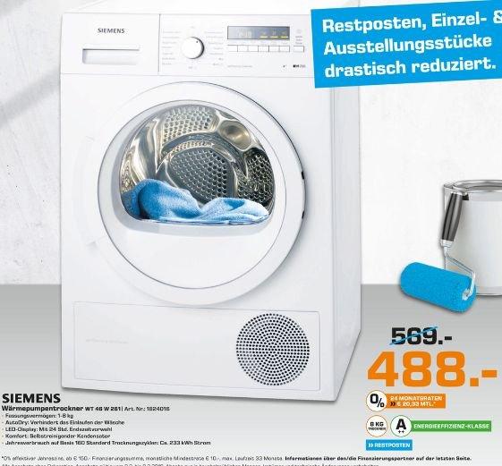 [Lokal Saturn Augsburg] Restpostenverkauf..Wärmepumpentrockner Siemens WT46W261 iQ 700 selfCleaning condenser , EEK: A++zum Bestpreis von 488,-€
