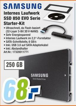 [Lokal Expert-Schlagenhauf alle Filialen] Samsung SSD 850 Evo 250GB inc.Starter-Kit für 68,-€