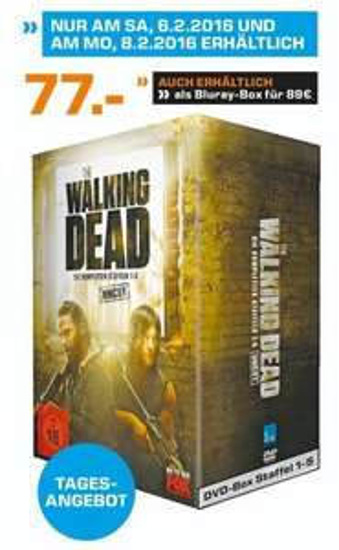 (Lokal Saturn Neuss) The Walking Dead 1-5 Box - UNCUT (Blu-Ray = 89,- / DVD = 77,- EUR)