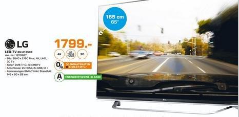[Saturn HH + Norderstedt] LG 65UF8509 164 cm (65 Zoll) Fernseher (Ultra HD, Triple Tuner, 3D, Smart-TV) [Energieklasse A+]