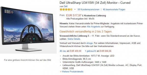 "34"" 21:9 Monitor - Dell U3415W - neu - 437,66€ - Abverkauf?"