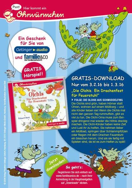 Gratis Download - Hörspiel von den Olchis - Folge: Die Olchis aus Schmuddelfing - über Familie&Co