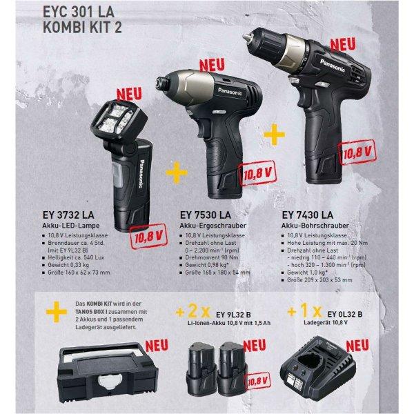 Panasonic EYC 301 LA KOMBI KIT 2 für 139€ @ Redcoon - Akku-Bohrschrauber, Akku-Schlagschrauber, Akku-LED Lampe + 2 Akkus