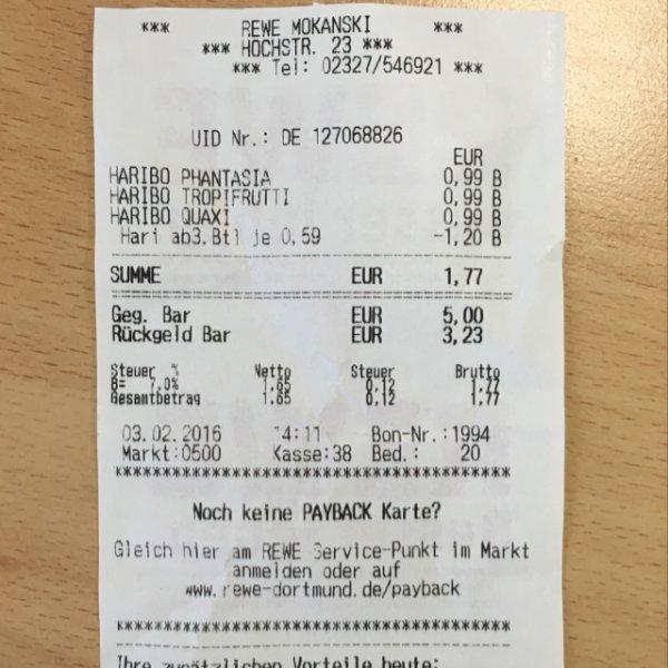 [Bochum, vielleicht auch woanders] ab 3 Tüten - 200g Haribo Packung für je 0,59€ @REWE