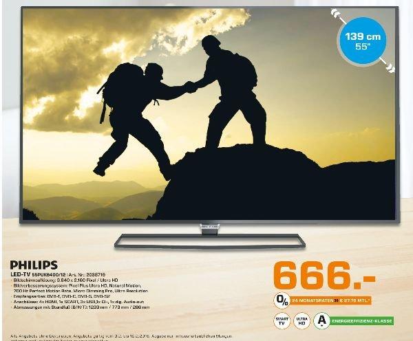 [Lokal Saturn Trier] Philips 55PUK6400/?12 139 cm (55 Zoll) UHD-LED-Fernseher /4K/?Android/?Pixel Plus Ultra HD EEK: A+ für 666,-€
